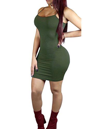 2e26dffc6ba AVINE Womens Sexy Spaghetti Straps Pure Color Clubwear Party Mini Condole  Dress