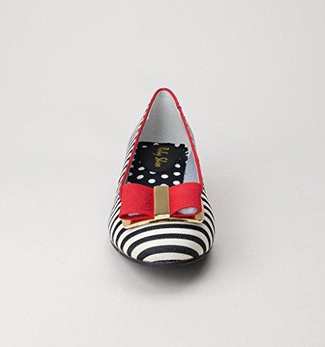 Ruby Shoo June Black Red Womens Low Heels Pumps