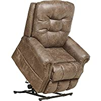 Catnapper Ramsey 4857 Power Full Lay Flat Lift Chair Recliner with Heat and Massage - Easy Care Faux Leather Vinyl - Silt with In-Home Delivery and Setup