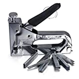TOPCHANCES Heavy Duty 3-Way Manual Hand Nail Staple Gun Furniture Stapler Nailers Rivet Tool for Framing with 600pcs Staples Woodworking Tacker Tools