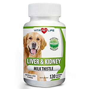Milk Thistle Liver, Kidney and Bladder Support for Dogs, Detox, DHA, EPA, Hepatic Support, Dandelion Root, Omega 3 Fish Oil, Vit B1,B2,B6,B12, Kidney Stone Prevention.120 Natural Chew-able Tablets. 115
