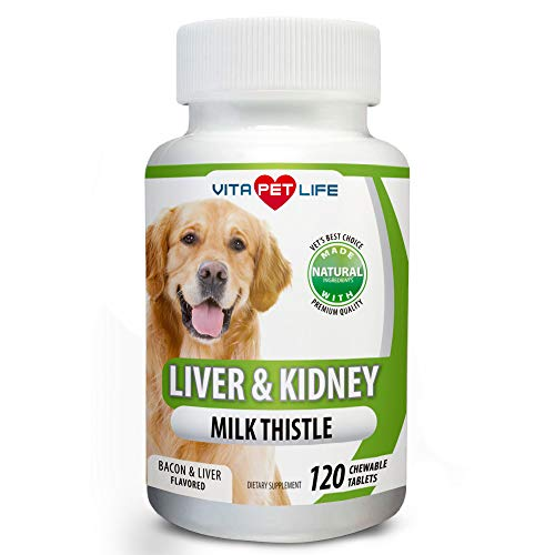 Milk Thistle Liver, Kidney and Bladder Support for Dogs, Detox, DHA, EPA, Hepatic Support, Dandelion Root, Omega 3 Fish Oil, Vit B1,B2,B6,B12, Kidney Stone Prevention.120 Natural Chew-able Tablets. (Best Dog Food For Dogs With Liver Disease)