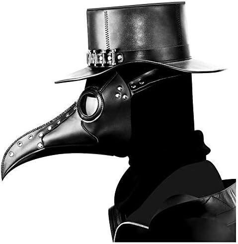 ペストマスク 肝試し ガスマスク 病気の医師 覆面 中世防護マスク コスチューム コスプレ PUレザー 仮装 中世期風 覇気型 鳥博士 ハロウィン ジョークアイテム 通気 フリーサイズ 仮装大会 (覇気型ブラック)