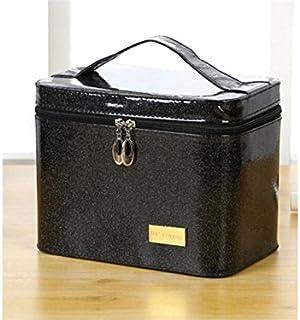 HOUHOUNNPO Sac cosmétique Sac de Rangement Sac de Maquillage Sac Pochette pour Les Femmes (Noir) Pochette Cosmétique Femme