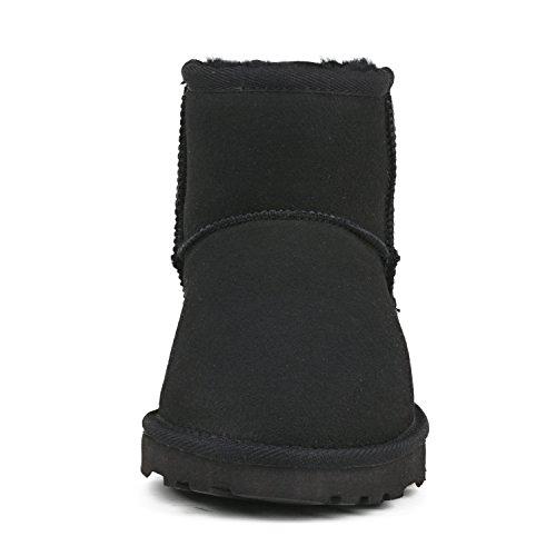 Ausland Womens Classic Short Sheepskin Snow Boot Black 2 WSqah