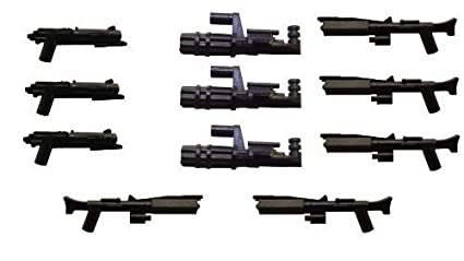 Little Arms 11 Piece Weapon Set Clone Blaster Minigun Replicant Rifle Made For Minifigures