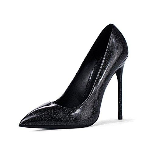 Scarpette Da Donna Da Donna In Vernice Nera Tacco Alto Punte Da Discoteca Scarpe Stiletto Nere (10cm)