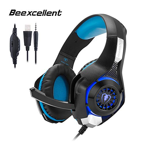 Beexcellent GM-1 Gaming Headset, Stereo Gaming Headphones Noise Isolation/LED Light/Bass Surround Over-ear/Mic USB & 3.5mm Wired for PS4 Xbox one PC (Blue) by Beexcellent (Image #7)