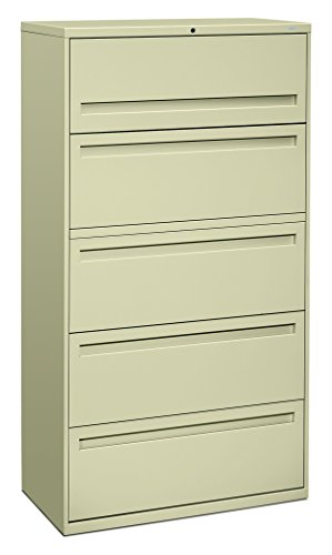 (HON 700 Series 36 Inch Four Drawer Lateral File and One Roll Out Shelf)