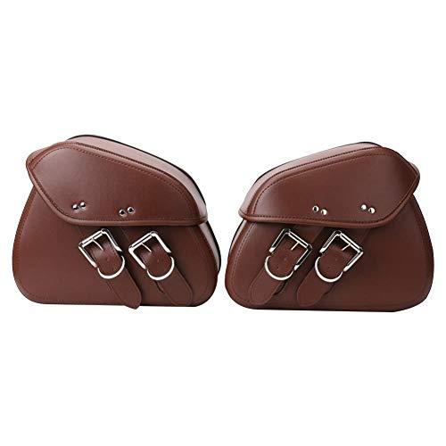 (Fancystar 1 Pair Motorcycle Saddle Bags Pannier Bag Waterproof PU Leather Side Case for Harley Sportster Softail Honda Suzuki Yamaha Cruiser, Brown/Black)
