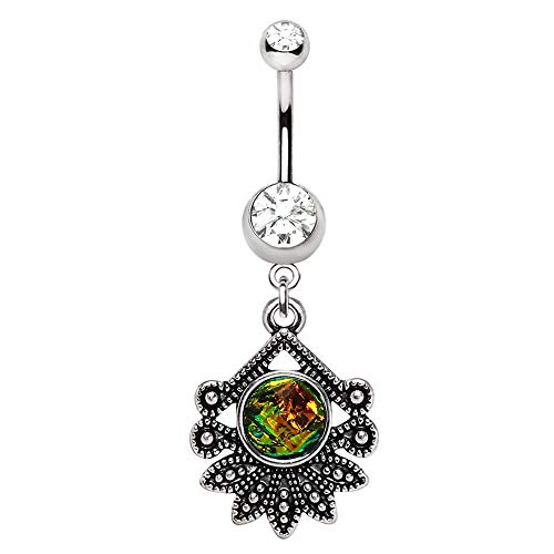 tropical flower belly ring - 9