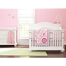 New Baby Girls Neutral Happy Bird Pink 9pcs Crib Bedding Set with musical mobile and diaper stacker