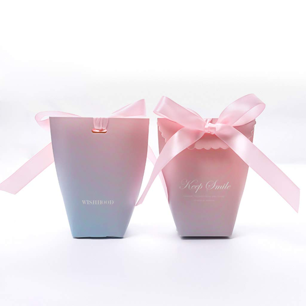 Creative Personality Wedding Candy Boxes with Ribbons, DIY Pink Guests Gift Favour Boxes, Wedding Party Anniversary Bridal Shower Use, 50pcs 50pcs