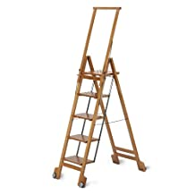 BIBLIO 5 - Classy Folding 5 Steps Ladder in Solid Beech Wood - Handcrafted in Italy - Cherry Finish