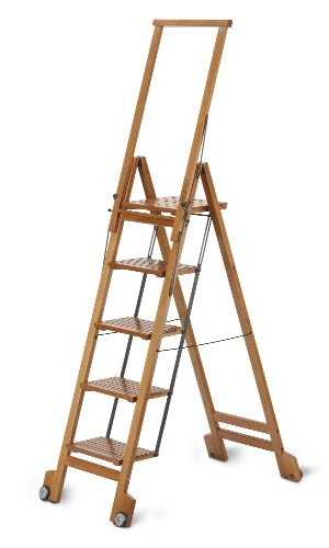 ARIS BIBLIO 5 - Folding Step Ladder In Solid Beech Wood - Handcrafted in Italy - Cherry Finish