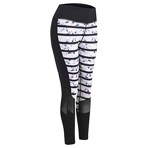 Women Yoga Pants Workout Leggings High Waist Fitness Stretch Tights Sports Running Gym Pants(Flower-L)
