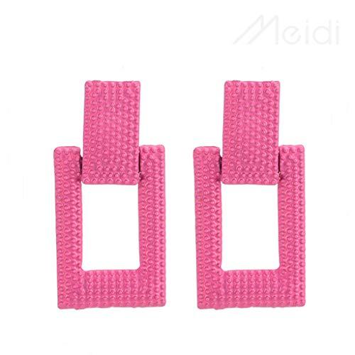 (Rockia Leather Earring Rectangle Shape Earrings for Women Stylish Ear Ring Stud Jewelry Creative Birthday Gift (Hot Pink))