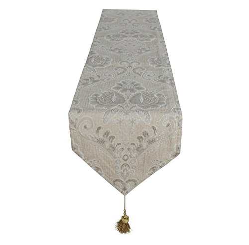 Lovein Table Runner Christmas Decorative Beige Floral Pattern Luxury Polyester Embroidery Fabric Tablerunner for Kitchen Dinning(13x79-Inch)