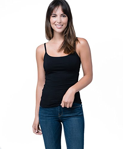 Organic Cotton Shelf Bra Camisole Tank Top, Black, X-Large