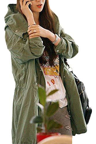 Outdoor Libero Cappuccio Donna Stampato Eleganti Mantello Giovane Verde Autunno Primaverile Teschio Lunga Giacca Giaccone Tempo Sciolto Outerwear Moda Manica Con 7EEarwvq1