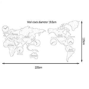 Wall clock Relojes, Sala de Estar, Reloj de Pared, Reloj de Pared del Mapa, Estilo nórdico, Movimiento de exploración silencioso Material de Madera 220 * 115 * 0.3cm 2