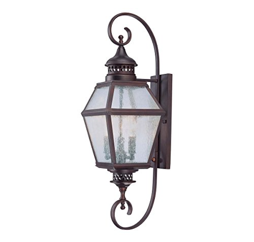 Savoy House 5-773-13 Outdoor Sconce with Pale Cream Seeded Shades, English Bronze - Entrance Bronze English