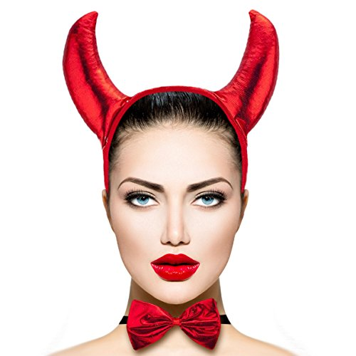 [Lux Accessories Red Devil Horn Tail Bow Halloween Costume Set (3PCS)] (Devil Horn Costume)