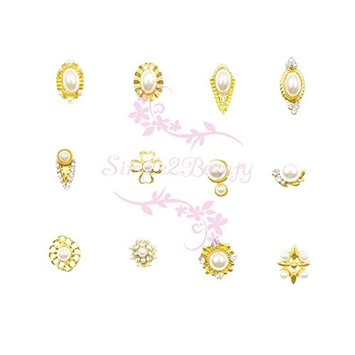 (Kamas 1 Set 120pcs Gold Tone 3D Alloy Charms Faux Pearl Decor Vtg Nail Art Manicure Crafts Jewelry DIY Design Decorations Accessories)