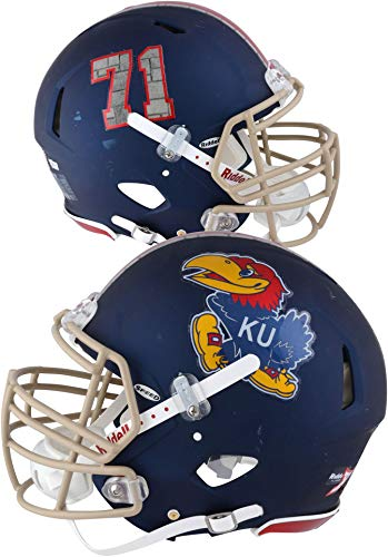 (Kansas Jayhawks Game-Used Blue #71 Speed Gale Sayers Tribute Helmet with Rock Chalk Limestone Details from the 2016 Football Season - Size XL - Fanatics Authentic Certified)