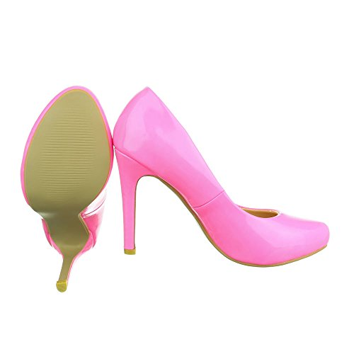 Ital-Design High Heel Damenschuhe Plateau Pfennig-/Stilettoabsatz High Heels Pumps Pink