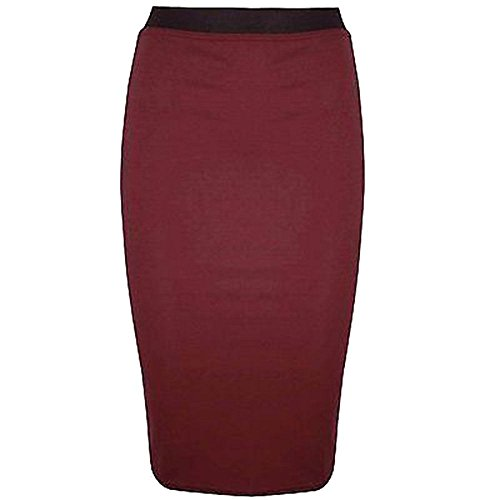 Janisramone Womens Plain Office Work Pencil Ladies Stretch Bodycon Mini Midi Skirt Size 8-26 Vin