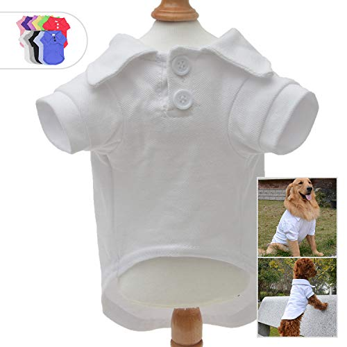 - Lovelonglong Basic Dog Polo Shirts Premium Cotton, Polo T-Shirts for Large Medium Small Dogs with a Two-Button Collar Blank Color White XXL