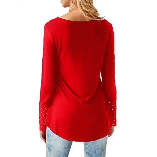 shirt Black Pure Femmes T Manches T shirt Chemisier Chemises Col vintage Chemise femme Couleur V QHDZ Longues longue l'automne Femme femme wqSOS7F