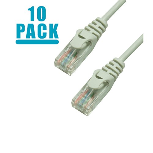 Grandmax 10 PACK - SLIM CAT6 10 Foot RJ45, 550MHz, UTP Ethernet Network Patch Cable Snagless/ Molded Ferrari Boot/ GRAY (Cable Gray Snagless 550mhz Patch)