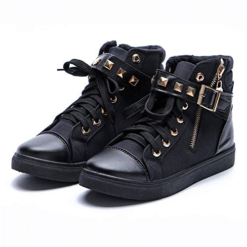 Casual Zipper Autumn Casual Shoes High GUNAINDMX Boots Female Low Women'S Shoes Black Rivets Shoes High Boots Top Canvas EqBwwOX