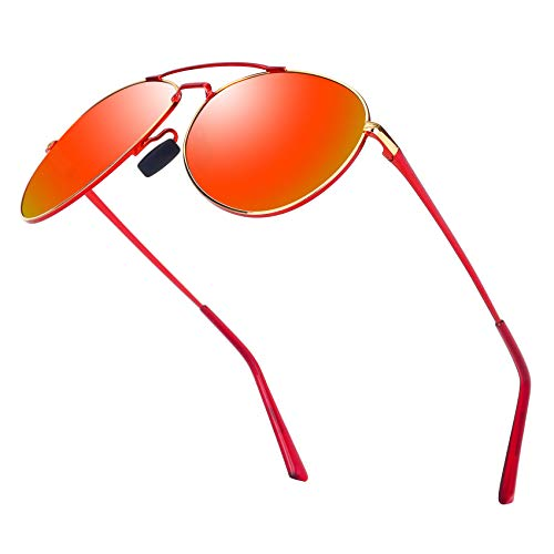 Aviator Sunglasses for Men Polarized Women-MXNX UV Protection Lightweight Driving Fishing Sports Mens Sunglasses MX208-(Red/Mirror Red Lens) ()