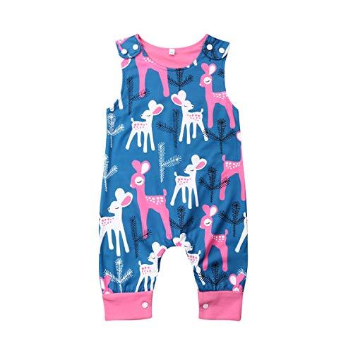 Newborn Girl Boy Unisex Baby Cute Floral Summer Sleeveless One Piece Outfit Clothes,Footless,Sleep & Play (Navy Blue(Deer), 12-18 Months)