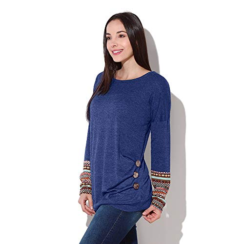 Amazon.com : Clearance!HOSOME Women Top Womens Autumn Women Long Sleeve Loose Button Trim Blouse Patchwork Round Neck Tunic T-Shirt : Grocery & Gourmet ...
