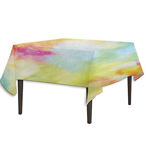 kangkaishi Colorful Leakproof Polyester Tablecloth Cloudy Milky Way Like Blur Smokey Colors Dust Powder Universe Outer Space Print Dinner Picnic Home Decor W36.2 x L36.2 Inch Multicolor