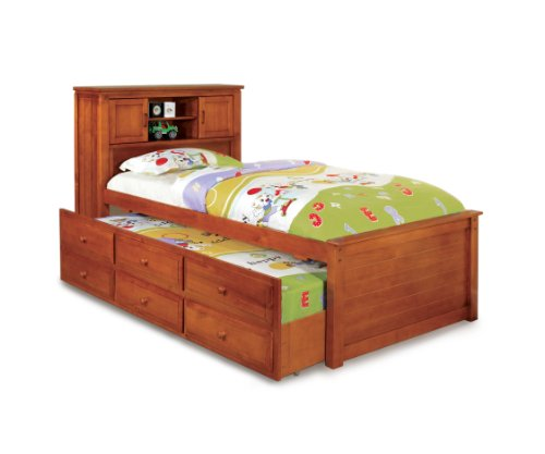 Furniture of America Cameron Twin Captain Bed with Trundle and Drawer Set, (Oak Captains Bed)