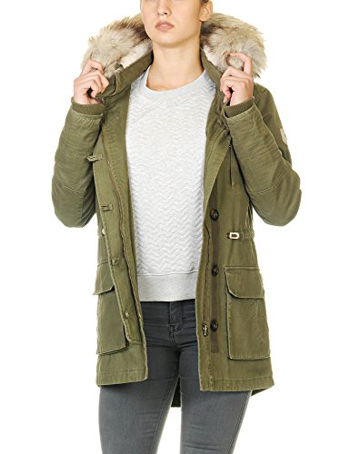 Only Women's Costa Parka Jacket Women's Olive Jacket With Lining Green
