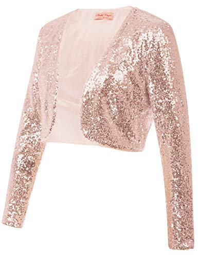 Belle Poque Women's Rose Gold Sequin Shrug Flapper Dresses 1920s Shrug Jacket Long Sleeve Cardigan Coat (Rose Gold,M)