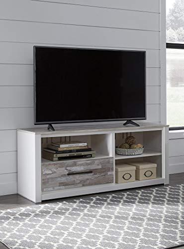 (Ashley Furniture Signature Design - Evanni TV Stand - 59 Inch - Fireplace Option - White & Gray)