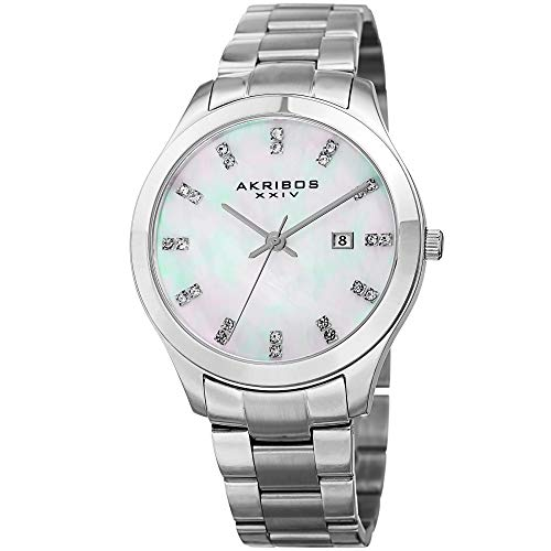 (Akribos XXIV Women's Silver-Tone Case with Genuine Swarovski Crystals and Blue Mother-of-Pearl Dial on Silver-Tone Stainless Steel Bracelet Watch AK954SSBU)