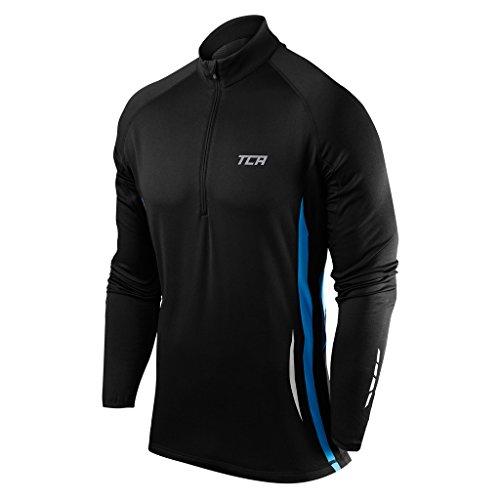 (TCA Winter Run Men's Half-Zip Long Sleeve Running Top - Black Large - Black - Large )