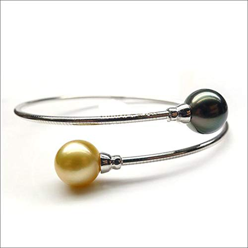 Quality Round 9-10mm Golden South Sea Pearl/Black Tahitian Pearl 18K White Gold Bracelet - AAAA Quality