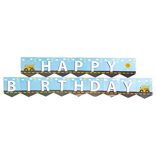School Bus Jointed Banners, School Bus Party Supplies, School Bus Birthday Banner, Party Decorations, Hanging Room Decorations -