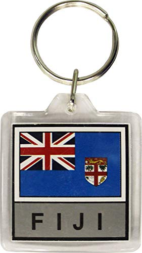 Lucite Plastic Ring - Flagline Fiji - Country Lucite Key Ring