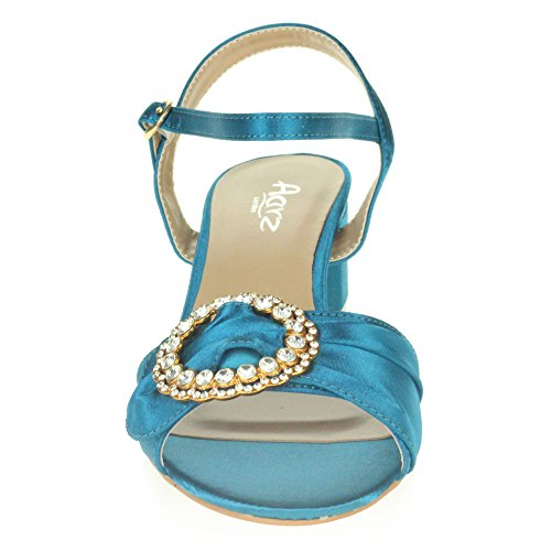 Zapatos Boda AARZ Abierta Casual LONDON Tamaño Señoras Paseo Noche Punta Tacón Fiesta Sandalias Ancho Mujer Azul Diamante Xn6q8vfXr