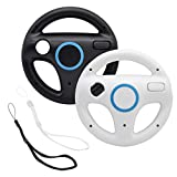 GamesBunds Mario Kart Steering Wheels, Black White Racing Wheel with Wii Wheel, Wii Mario Kart Game Remote controller Accessories Driving Wheel for Mario Kart , Tank, more Wii or Wii U racing games